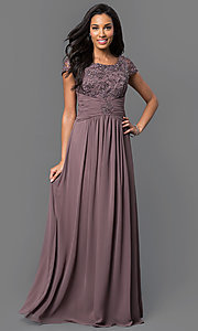 Image of cap-sleeve scoop-neck long prom dress by Elizabeth K. Style: FB-GL1398Y Detail Image 1