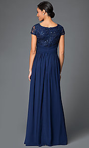 Image of cap-sleeve scoop-neck long prom dress by Elizabeth K. Style: FB-GL1398Y Back Image
