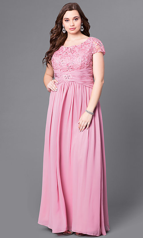 Image of cap-sleeve scoop-neck long prom dress by Elizabeth K. Style: FB-GL1398Y Detail Image 3