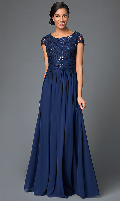 Image of cap-sleeve scoop-neck long prom dress by Elizabeth K. Style: FB-GL1398Y Front Image