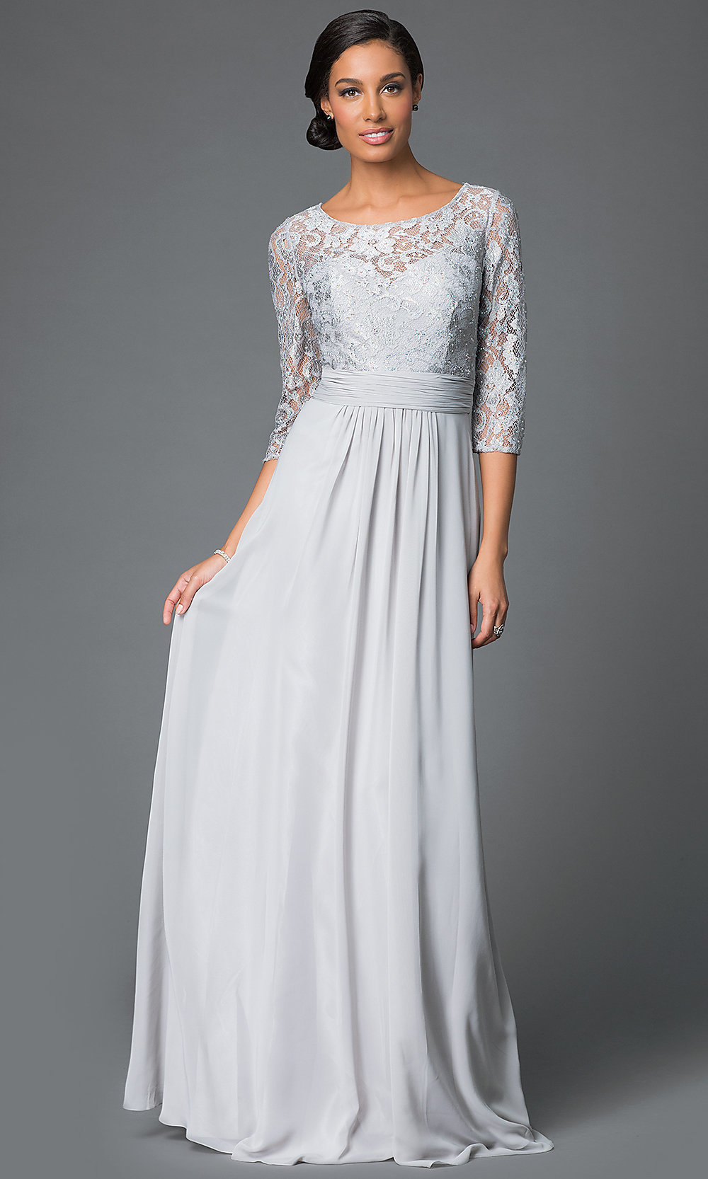 Long Lace Top Dress With Three Quarter Length Sleeves