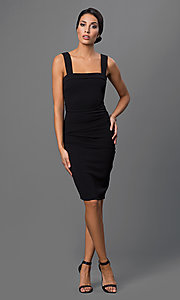 Image of open-back knee-length little-black party dress Style: SY-ID2689EP Detail Image 1