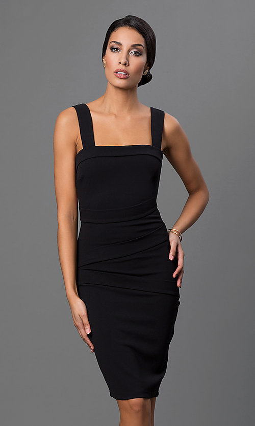 Image of open-back knee-length little-black party dress Style: SY-ID2689EP Back Image