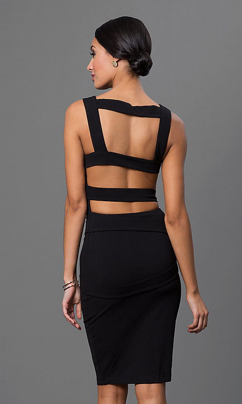 Image of open-back knee-length little-black party dress Style: SY-ID2689EP Front Image