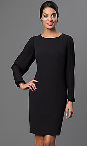 Black Knee Length Long Sleeve Dress