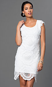 Image of white lace Sequin Hearts dress. Style: MY-2991CT1D Front Image