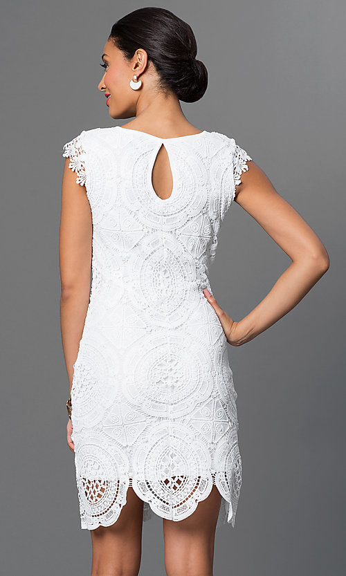 Image of white lace Sequin Hearts dress. Style: MY-2991CT1D Back Image