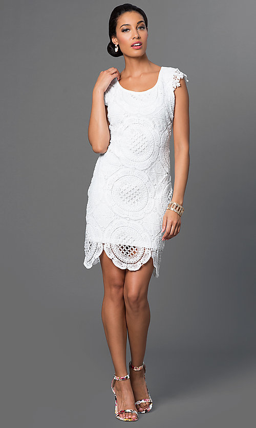 Image of white lace Sequin Hearts dress. Style: MY-2991CT1D Detail Image 1