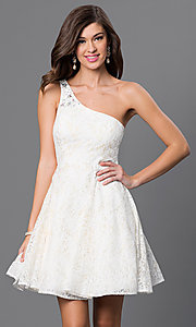 Image of lace one-shoulder lace prom dress by Sequin Hearts Style: MY-2327LV1P Front Image