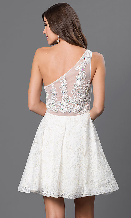 Image of lace one-shoulder lace prom dress by Sequin Hearts Style: MY-2327LV1P Back Image