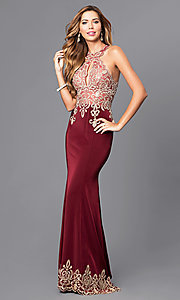 Image of long high-neck keyhole Dave and Johnny prom dress. Style: DJ-2325 Front Image