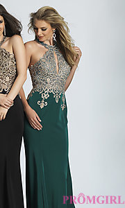 Image of long high-neck keyhole Dave and Johnny prom dress. Style: DJ-2325 Detail Image 2