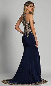 Image of long high-neck keyhole Dave and Johnny prom dress. Style: DJ-2325 Back Image