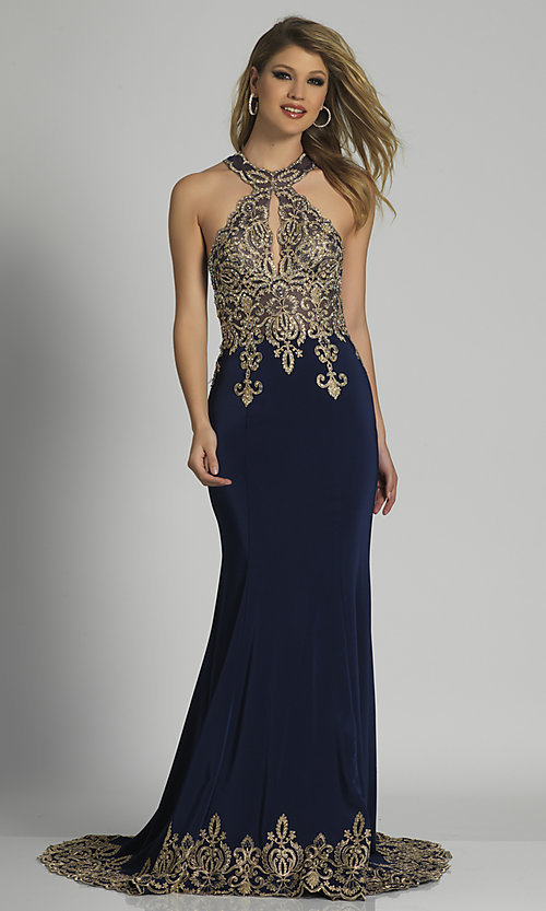 Image of long high-neck keyhole Dave and Johnny prom dress. Style: DJ-2325 Detail Image 1
