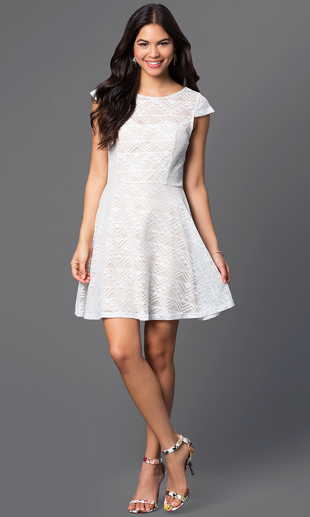 Short White Scoop-Neck Cap-Sleeve Dress - PromGirl