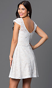 Image of short ivory-white cap-sleeve lace dress Style: BBL-3IMCL0103 Back Image