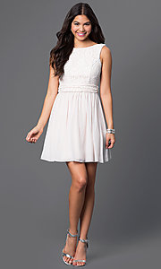 Image of short sleeveless dress with lace bodice Style: SS-D63421HVS Detail Image 1