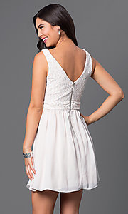 Image of short sleeveless dress with lace bodice Style: SS-D63421HVS Back Image