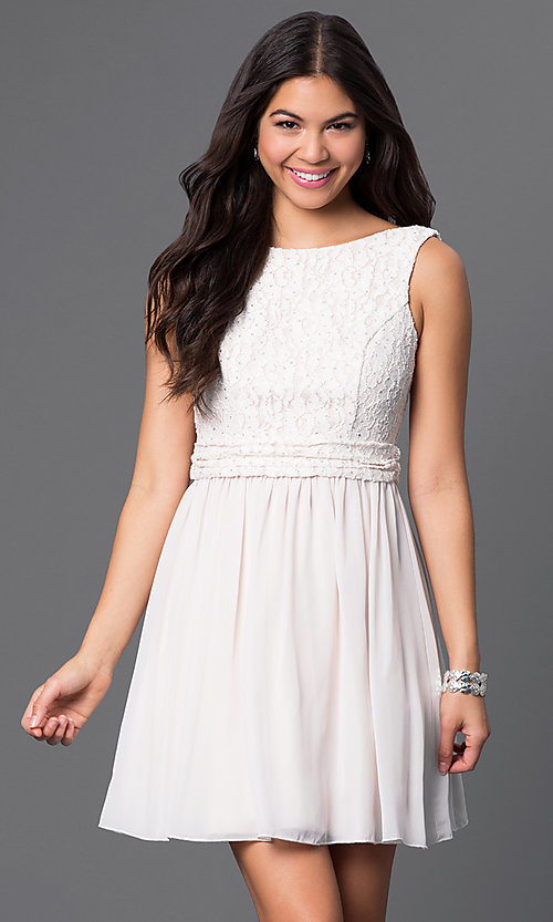 Image of short sleeveless dress with lace bodice Style: SS-D63421HVS Front Image
