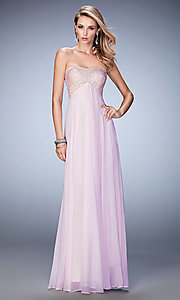 Long Empire Waist Strapless La Femme Prom Dress