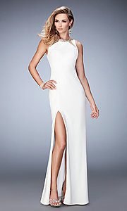 Sleeveless La Femme Long Jersey Open Back Prom Dress