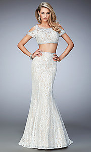Two Piece Lace Prom Dress by La Femme