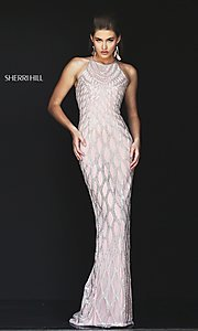 Image of beaded open-back long prom dress by Sherri Hill. Style: SH-50380 Front Image