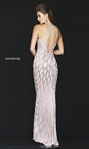 Image of beaded open-back long prom dress by Sherri Hill. Style: SH-50380 Back Image