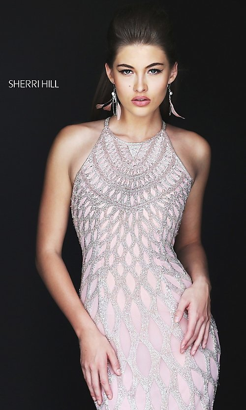 Image of beaded open-back long prom dress by Sherri Hill. Style: SH-50380 Detail Image 2
