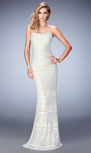 Long Lace Strapless Sweetheart La Femme Prom Dress