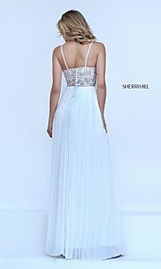 Image of ivory long pleated v-neck Sherri Hill prom dress. Style: SH-50432 Back Image