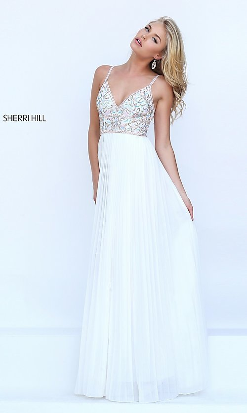 Image of ivory long pleated v-neck Sherri Hill prom dress. Style: SH-50432 Front Image