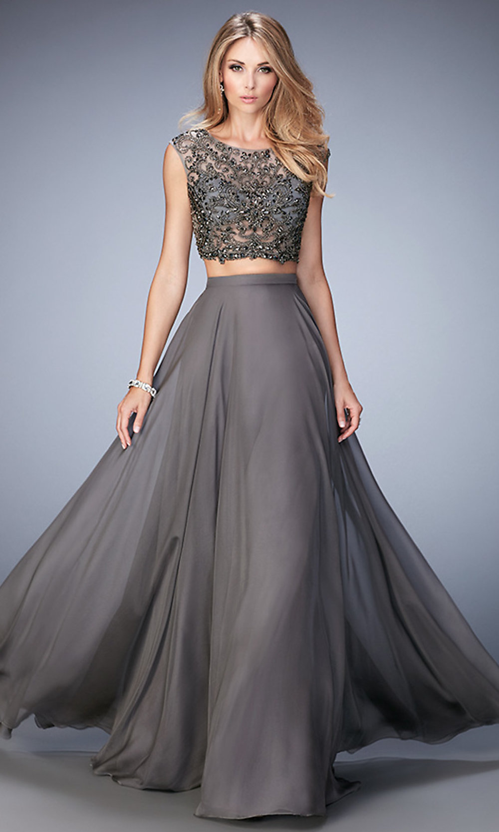 Long Two-Piece Gray La Femme Dress - PromGirl