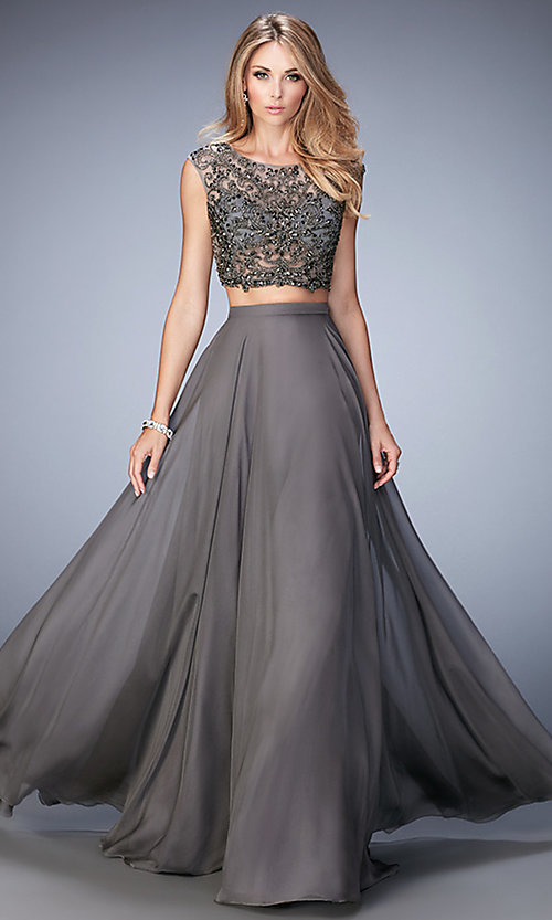 Image of long Gigi two-piece gunmetal-gray prom dress Style: LF-22929 Front Image