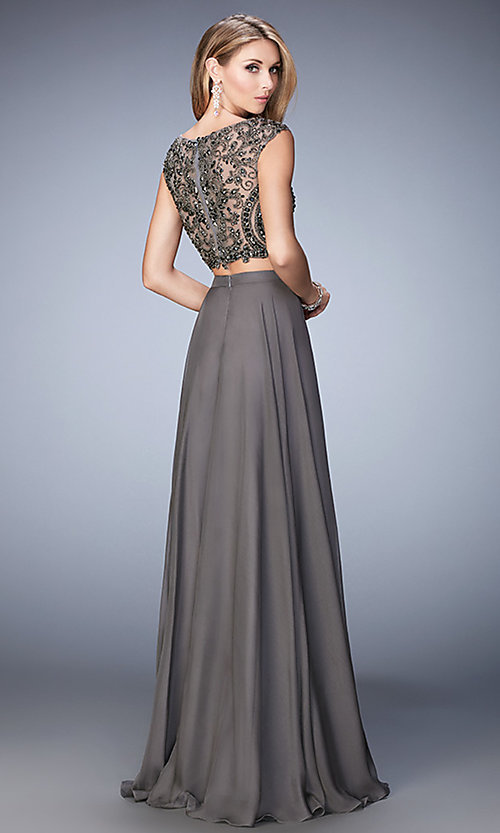 Image of long Gigi two-piece gunmetal-gray prom dress Style: LF-22929 Back Image