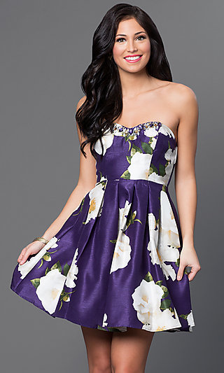 Floral Print Strapless My Michelle Dress