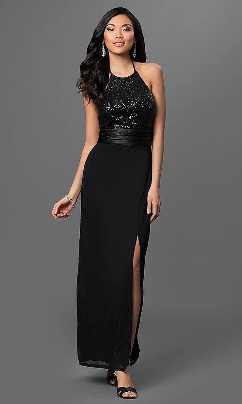 901776ca19 Image of long black halter dress with sequined bodice