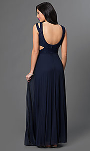 Image of long jewel embellished v-neck prom dress with open back, side cut-outs and pleated skirt.  Style: SS-X32721HVS Back Image