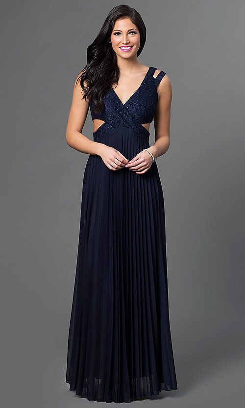 Image of long jewel embellished v-neck prom dress with open back, side cut-outs and pleated skirt.  Style: SS-X32721HVS Front Image