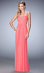 La Femme Open Back Long Prom Dress