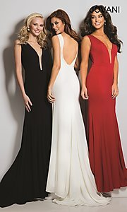 Open Back Long Jovani Prom Dress with a Deep V-Neck