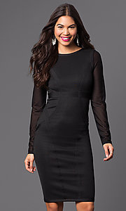 Image of long sleeve knee-length dress. Style: WC-K4169 Front Image