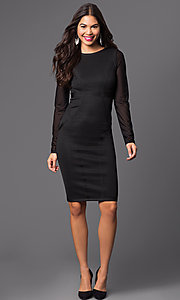 Image of long sleeve knee-length dress. Style: WC-K4169 Detail Image 1