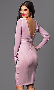 Image of long sleeve knee-length dress. Style: WC-K4169 Back Image