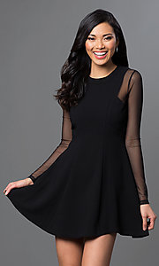 Image of sheer long-sleeve short BCBGeneration dress.  Style: BC-GEF68C36 Front Image