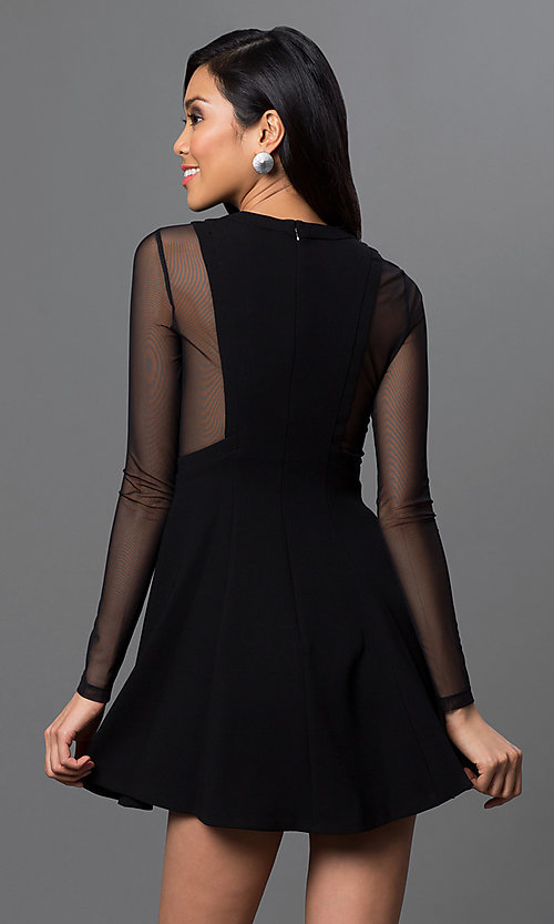 Image of sheer long-sleeve short BCBGeneration dress.  Style: BC-GEF68C36 Back Image