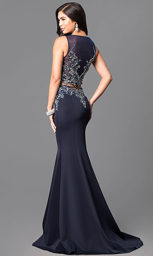 Image of two-piece Terani floor-length prom dress. Style: TI-1611P1011 Back Image