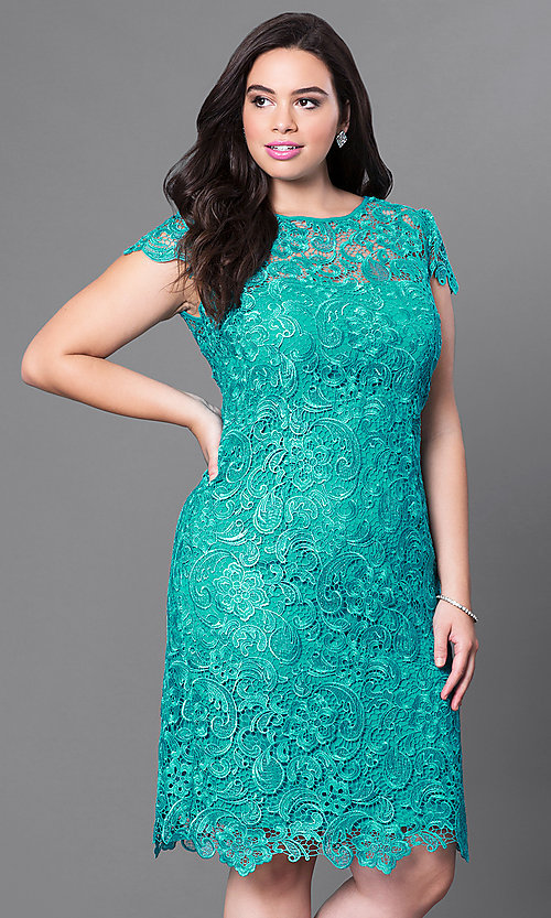 Image of cap-sleeve plus-size short lace party dress. Style: NA-5064 Front Image