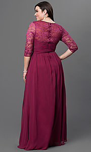 Image of long sweetheart prom dress with lace sleeves. Style: NA-5118 Back Image