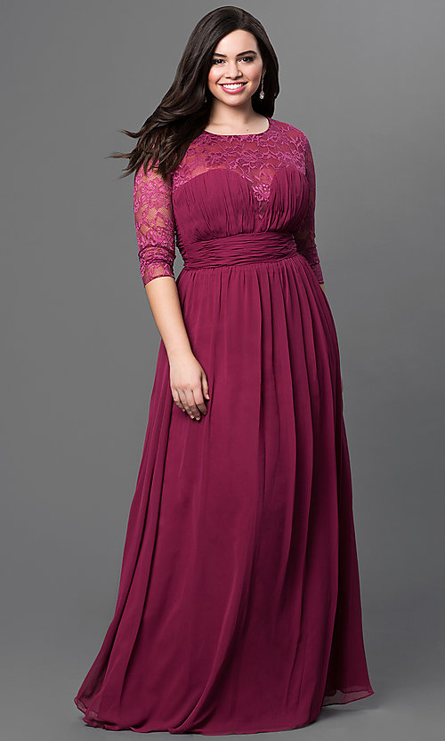 Image of long sweetheart prom dress with lace sleeves. Style: NA-5118 Front Image